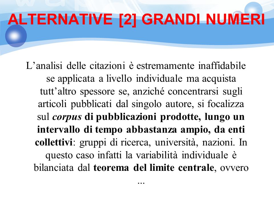 ALTERNATIVE [2] GRANDI NUMERI
